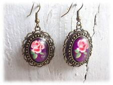 Ohrringe - Rose violet - nostalgisch Vintagestil