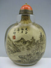 Old Peking glass Hand INSIDE PAINTED Landscape Calligraphy/poem Snuff Bottle