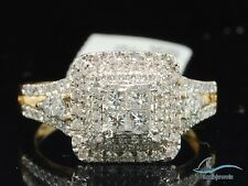 Ring Princess Cut Yellow Gold Over 2.50 Ct Womens Diamond Halo Engagement