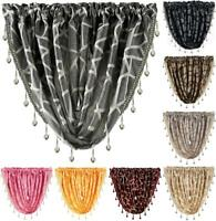 MOROCCO Coloured Beaded Faux Silk Swag Net Curtain Patterned Swags Valance Drape