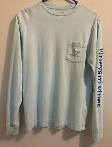 Vineyard Vines Long Sleeve Whale Pocket T Shirt Light Green Size Adult XS - EUC