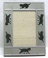 "Vtg Metal Picture Frame w Cut-Out Cat Kitten Border 5 1/4"" X 6 3/4"" Easel Back"