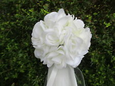 10 Wedding Pew Bows*Ceremony Decorations *Ivory Rose Flowers*