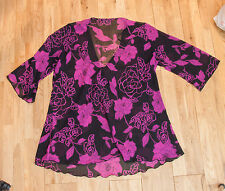 Joanna Hope Black & Purple Floral Pattern Top - Size Large (See Info)