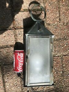 Antique Copper Outdoor Lantern Porch Light Fixture Frosted Glass Panels