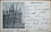 Greencastle, IN 1907 Postcard: DePauw University, West College - Indiana Ind
