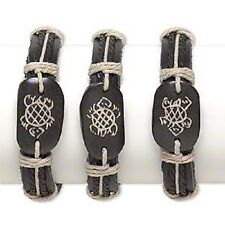 1743JU Bracelet, Black Tan, Bone Leather, Turtle Design, Adjustable,  3 Qty