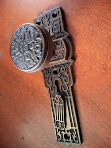 "Antique Fancy Cast Bronze Stationary ""Dummy"" DoorKnob & Plate by Gilbert c1900"