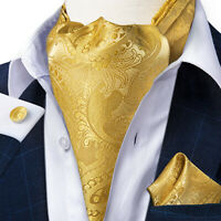 Mens Silk Gold Paisley Self-tied Cravat Tie Ascot Pocket Square Cufflinks Set