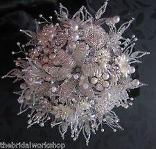 Brides Diamante Pearl Petite Brooch Posy Vintage Bouquet Posy Wedding Flower
