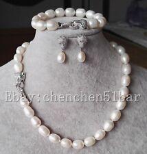 echte 10-11mm weißer Reis Süßwasserperle Tiger Kopf Halskette Armband Ohrringe