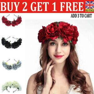 Women Rose Flower Crown Headband Garland Festival Wedding Party Hairband UK