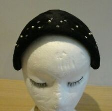 Vintage 1940/50's Black Smooth Faux Fur Cap with Pearl and Diamante Detail