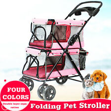 Portable Pet Stroller Dog Cat Double-layer Carrier Breathable Cart Pushchair Us