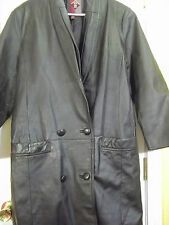 GIII  Leather Pleated Collar Long Men Trench Coat Black Double Breasted sz S