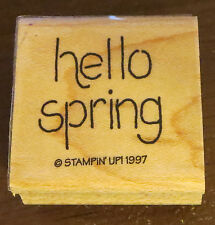 Hello Spring Stampin' Up! 1997 Retired Rubber Stamp Wood Mounted