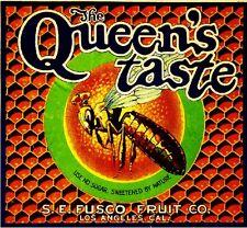 Los Angeles The Queen's Taste Honey Bee Orange Citrus Fruit Crate Label Print