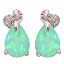 Green Fire Opal Zircon Silver Women Jewelry Gemstone Stud Earrings 16mm OH3878