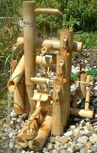 Bambus-Wasserspiel Wasserlauf Höhe  50 cm Wasserfall Gartendeko Zimmerbrunnen