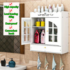 2 Door Bathroom Cabinet Wall Mounted Toilet Cupboard Storage Hung Shelf Holder