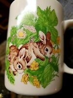 Set of 2 Otagiri White Rabbit Bunny Coffee Cups Mugs Made in Japan BUNNIES