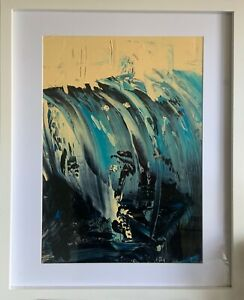 large white FRAMED contemporary painting on board. Blue black neutral modern Art