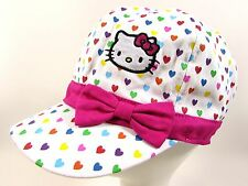 Girls Hello Kitty White Pink Hearts Embroidery Bow Hat Cap ~Children Large 54 cm