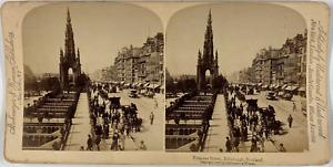 Kilburn, Stereo, Scotland, Edinburgh, Princess street Vintage stereo card,  Ti