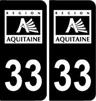 2 stickers style plaque immatriculation AUTO FULL black noir et blanc 33
