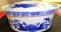"Vintage Asian Motif Deep Blue & White Porcelain~Heavy Oval 9"" Covered Casserole"