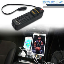 Car Power Inverter Charger 200W Peak DC 12V to AC 220V USB Laptop Computer NEW