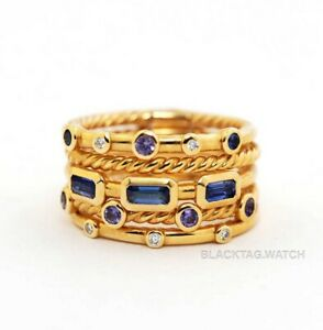 David Yurman Novella Stack Ring Yellow Gold Sapphire Diamonds Size 6
