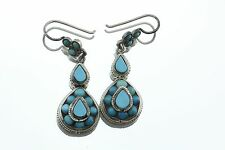 Antique Victorian Persian Turquoise Sterling Silver Chandelier Earrings
