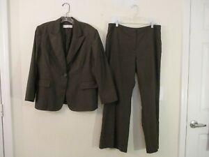 Tahari lined brown polyester blend pant suit size 14P