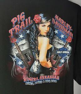 Harley Davidson T-Shirt 3XL Black Pig Trail Bikes Blues BBQ Rogers Arkansas