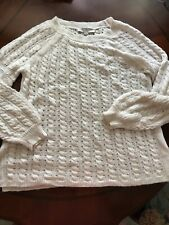Loft Lacy White Cream Cable Knit Sweater M Lightweight Mohair Wool Blend