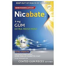 * NICABATE EXTRA STRENGTH 4 MG FRESH MINT 50 COATED GUM PIECES STOP QUIT SMOKING