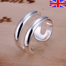 Ladies 925 Silver SILVER RING DOUBLE RINGS THUMB FINGER Free Gift Bag