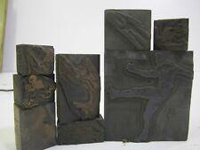 Lot of 8-Vintage Antique Metal Printer's Blocks- FOOTBALL PLAYERS! Advertising