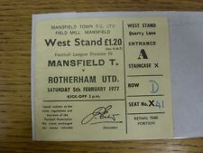 05/02/1977 Ticket: Mansfield Town v Rotherham United  (folded). Any faults with