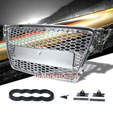 Chrome Honeycomb Mesh RS Style Front Grille For 08-11 A4 Typ 8K 2.0L/3.2L DOHC