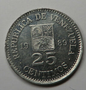 Venezuela 25 Centimos 1989(sc) Nickel Clad Steel Y#50a UNC