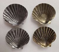 Lot of 4 vintage Metal Mini Shell silver and gold color trays