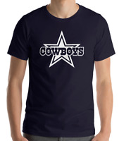 DALLAS COWBOYS NAVY T-shirt  WHITE Graphic Cotton Adult Logo S-2XL