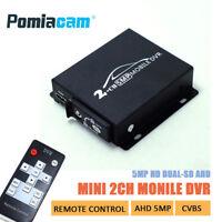 2CH AHD 5MP MINI Mobile DVR Real-time HD1080P SD DVR support 128GB/CVBS/AHD