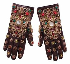 NWT $3700 DOLCE & GABBANA Brown Leather Gold Crystal Baroque Wrist Gloves 7 / S