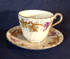 Aynsley Swirled Tea Cup And Saucer - Grape Vines And Gilded Accents - England
