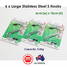6Pcs Large S Shape Stainless Steel Hook Clothes Hanging Bathroom Storage Holder