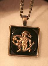 Handsome Black & Gold Warror Knave Wizard Square Brasstone Pendant Necklace