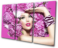 Fashion Female Girl Pink Flower Fashion TREBLE CANVAS WALL ART Picture Print